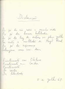 """Manuscript of """"Declaração"""""""