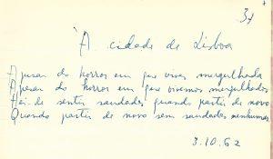 "Original manuscript of ""À cidade de Lisboa"""