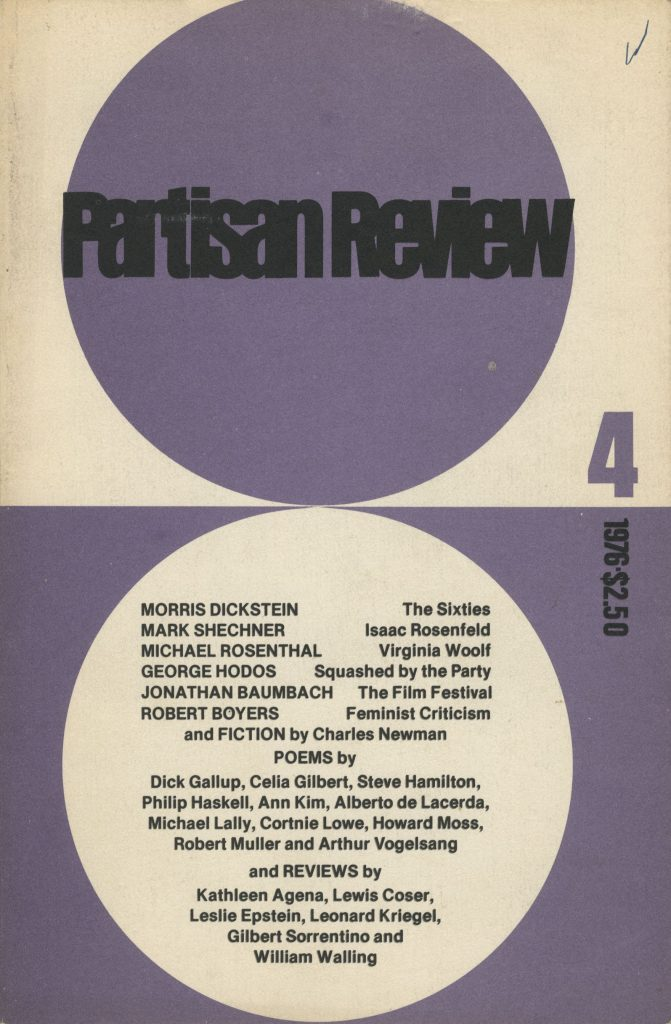 "Partisan Review, John Ashbery, poetry editor, Vol. XLIII, no. 4, Rutgers University, New York, 1976. Includes ""Completely New"" and ""Summer"" by Alberto de Lacerda"