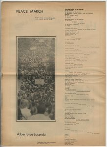 "The Rag, Austin, May 1970. Includes ""Peace March"" by Alberto de Lacerda, translated by Harriett Watts"