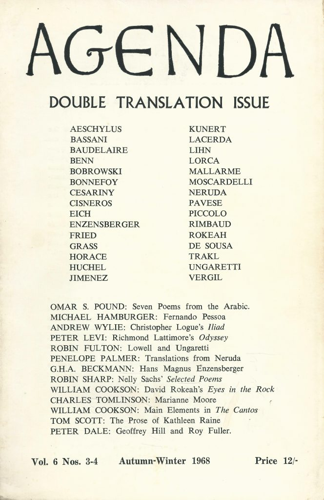 Agenda double translation issue, edited by William Cookson, Vol. 6 Nos. 3-4, London, Autumn-Winter 1968. Includes a poem by Alberto de Lacerda translated by Luís Amorim de Sousa