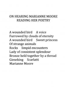 On hearing Marianne Moore reading her poetry (English)