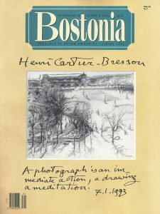 "Bostonia, Boston University, Spring 1993, cover drawing by Henri Cartier-Bresson, 1974. Includes ""The Mystery Matisse"" by Alberto de Lacerda, pp. 48-55"