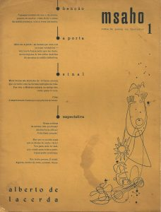 msaho, Fascicle 1, Lourenço Marques, Mozambique, October 1952. Includes 4 poems by Alberto de Lacerda