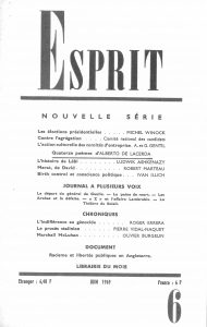 Esprit Nouvelle Série, Paris, June 1969. Includes 14 poems by Alberto de Lacerda, translated by Anne-Marie Albiach with the collaboration of Claude Royet-Journould