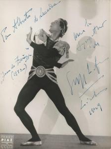 Inscribed photograph of Serge Lifar, Lisbon, 1949