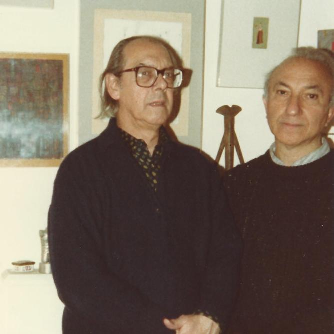 With Fernando Azevedo, Primrose Mansions, London, 1987