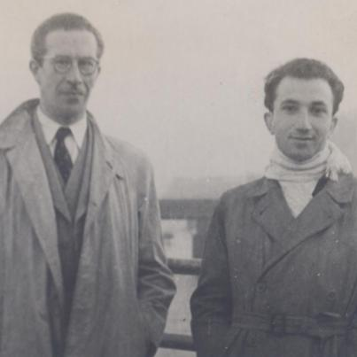 With Adolfo Casais Monteiro, Waterloo Bridge, London, 1952