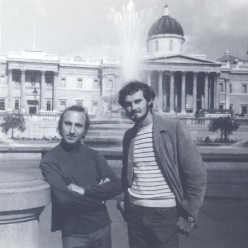 With Ben Norwood, Trafalgar Square, London