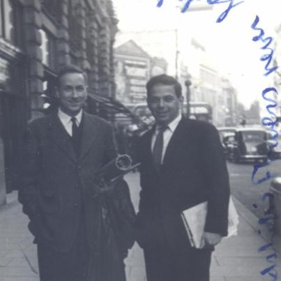 Richard Roud (right) and friend, London, c. 1956