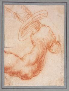 Cesare Dandini (attributed, Italy, 1596-1657) Drawing of an arm holding a sword, 17th Century
