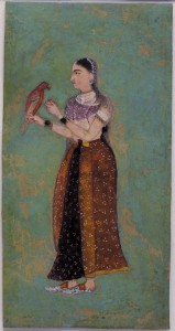 Girl with Parrot, Moghul period, 17th Century