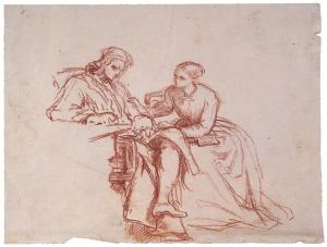 Domestic scene - couple with a letter