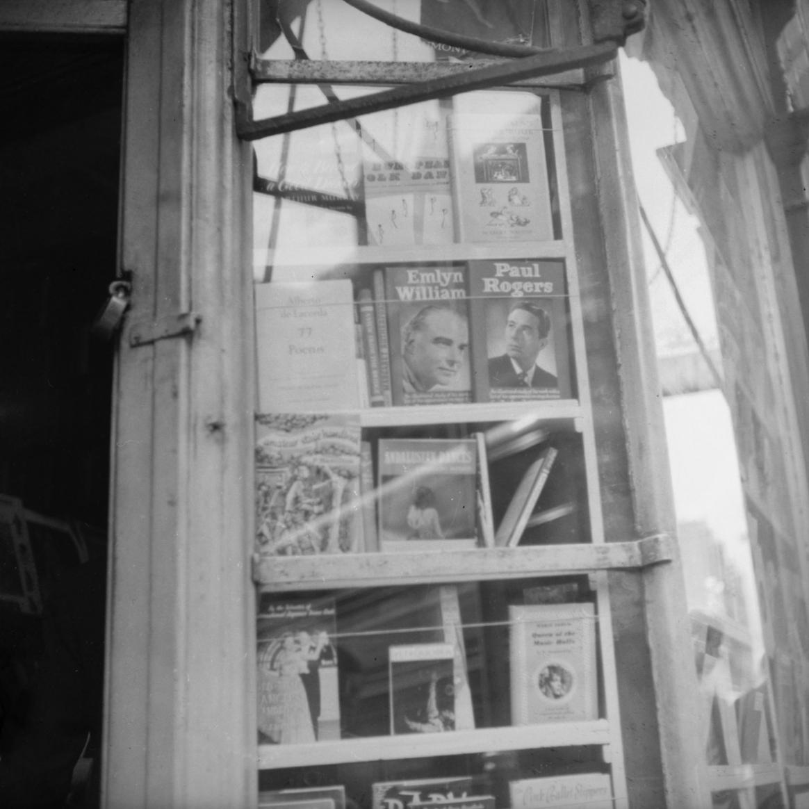 Display window in Cyril Beaumont's store with a copy of 77 Poems, Charing Cross Road, London, 1955