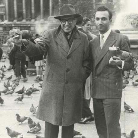 With Manuel Bandeira, Trafalgar Square, 1957