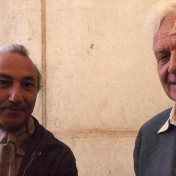 With Stephen Spender, Rotterdam, 1982