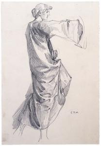 Charles Fairfax Murray (UK, 1849-1919) Standing female figure with raised arm